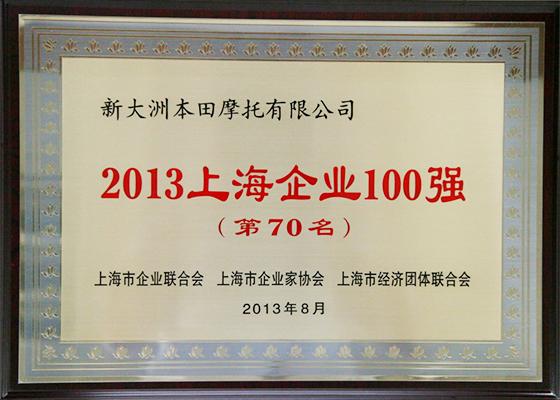 新大洲本田名列上海企业100强第70名