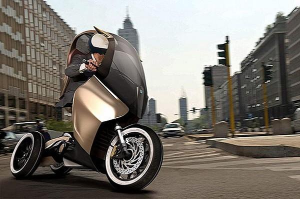 三轮的奇迹:比亚乔电动踏板概念车PAM