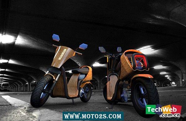 绿色出行新概念竹制原生态摩托车