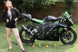 Kawasaki ninja ZX6R和美女模特