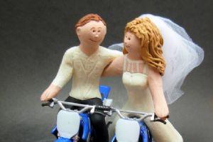 超有爱的摩托车结婚照
