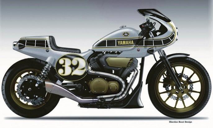 yamaha xv950r复古赛车式样设计稿