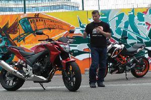 Honda CB500F PK KTM 390 Duke