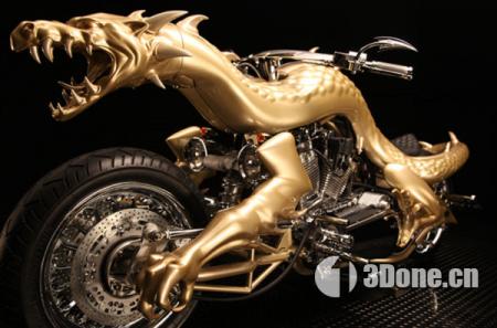 """""""中国龙""""超酷的3D打印技术定制摩托车"""