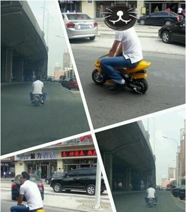 男子骑迷你摩托上路令人啼笑皆非