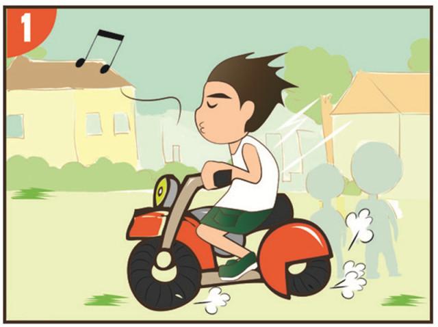 漫画新语:驾乘摩托戴头盔,车行路上守规则