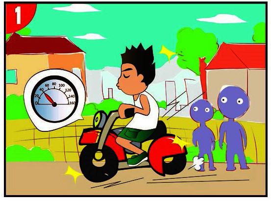 漫画新语:十次肇事九次快,摩托车族当自爱