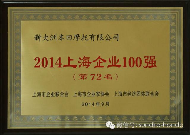 新大洲澳门威尼斯人线上娱乐荣获上海市百强企业第72名