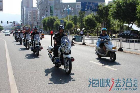 上杭巡特警新配备6辆警用摩托车巡逻