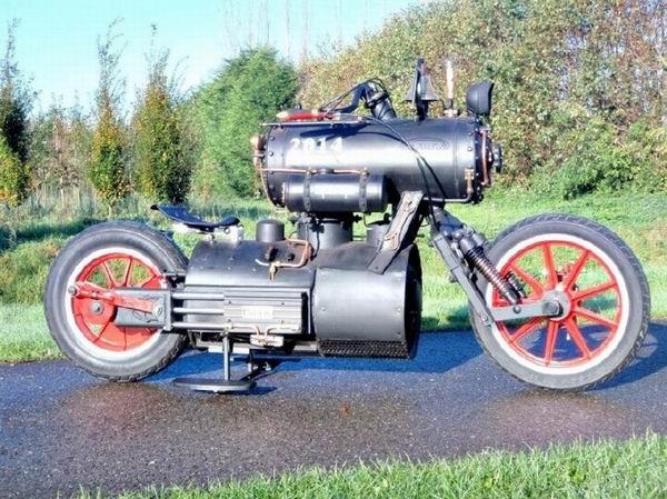 """""""黑珍珠""""蒸汽摩托车一款烧煤的摩托车"""