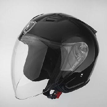 成威正品CW威盾半盔黄金城头盔夏冬盔可拆内衬C536亮黑旅行休闲盔