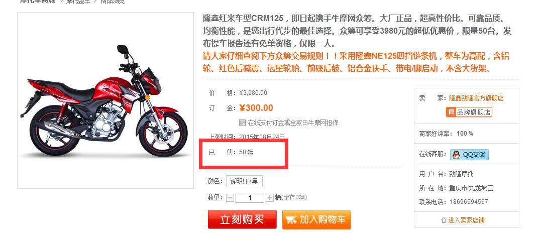 隆鑫众筹成功2天抢完50台CRM125