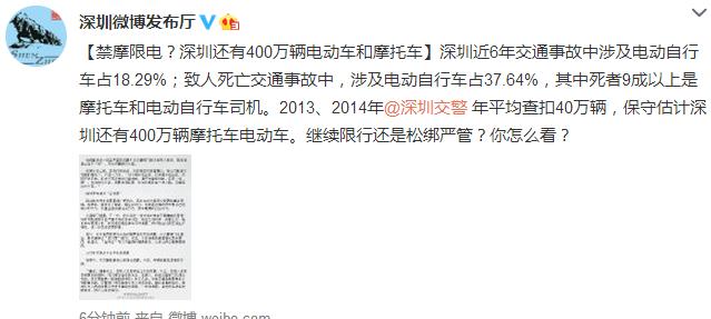 深圳400万辆电摩继续限行还是松绑严管?
