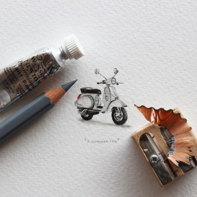 给蚂蚁的明信片开普敦艺术家微缩彩画