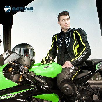 法国Bering摩托车专业赛车分体上衣 钛肩壳100真牛皮防摔防护衣