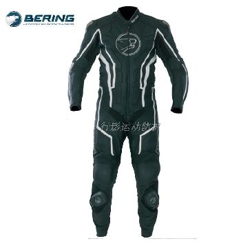 Bering摩托车专业赛车连体套装,钛肩壳,100真牛皮防摔衣防护衣