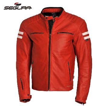 Segura复古红色 蓝色 驼色真皮防护皮衣防摔衣 全CE摩托车机车服