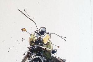 Tomas Pajdlhauser钢笔画手绘作品 很帅的越野摩托车